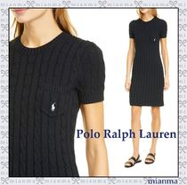 Ralph Lauren Crew Neck Short Casual Style Tight Cotton Short Sleeves