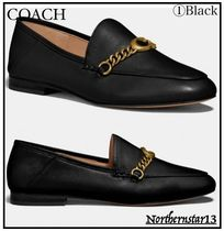 Coach Round Toe Rubber Sole Casual Style Chain Plain Leather