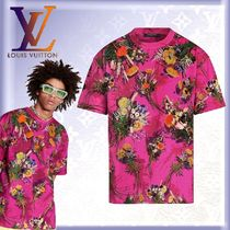 Louis Vuitton Crew Neck Flower Patterns Unisex Street Style U-Neck Cotton