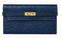 HERMES Kelly Unisex Ostrich Leather Street Style Plain Leather Logo