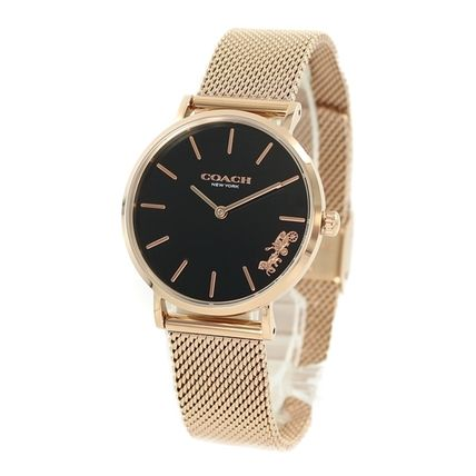 Coach Casual Style Round Party Style Quartz Watches Stainless