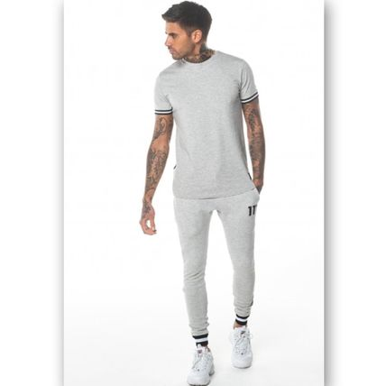 Street Style Plain Cotton Logo Men Skinny Pants