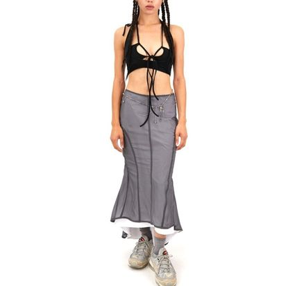 Casual Style Nylon Chain Long Maxi Skirts