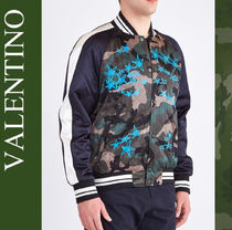 VALENTINO Short Camouflage MA-1 Logo Front Button Bomber Jackets