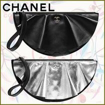 CHANEL Lambskin Plain Leather Party Style Elegant Style
