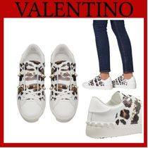 VALENTINO Leopard Patterns Rubber Sole Casual Style Studded
