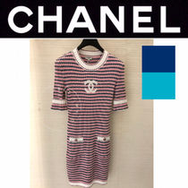 CHANEL ICON Casual Style Tight Blended Fabrics Street Style U-Neck Plain