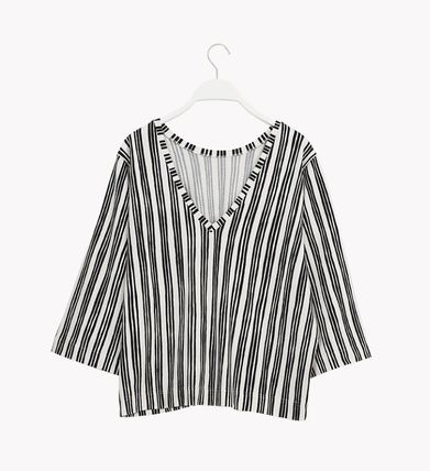 Stripes Cropped Cotton Medium T-Shirts