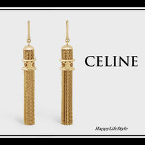 CELINE Triomphe Tassel Party Style Brass Elegant Style Earrings