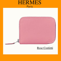 HERMES Calfskin Plain Leather Long Wallet  Small Wallet Icy Color