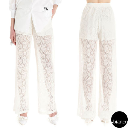 Casual Style Long Lace Sheer Pants