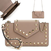 VALENTINO Casual Style Studded 2WAY Plain Leather Party Style