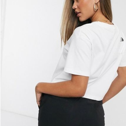 THE NORTH FACE Crew Neck Short Plain Cotton Short Sleeves Logo Cropped