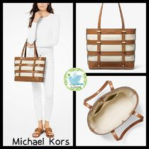 Michael Kors Stripes Casual Style Canvas A4 Plain Leather Office Style