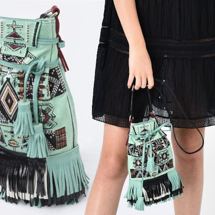 Casual Style Calfskin Fringes Crossbody Shoulder Bags