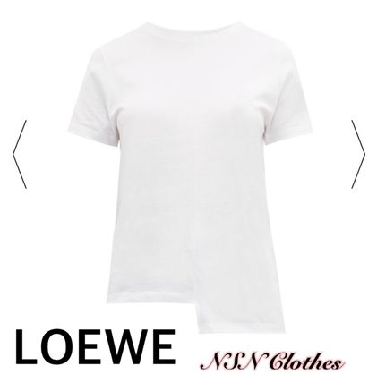 Crew Neck Short Plain Cotton Short Sleeves Logo Cropped