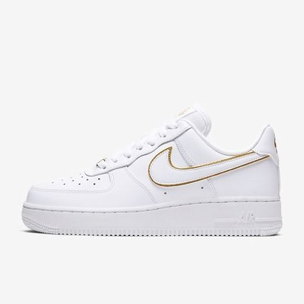 Nike AIR FORCE 1 Rubber Sole Casual Style Leather Logo Low-Top Sneakers
