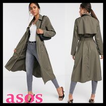 ASOS Stand Collar Coats Casual Style Plain Long Elegant Style