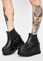 DOLLS KILL Platform Casual Style Plain Leather Wedge Boots