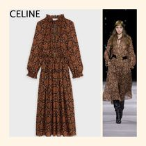 CELINE Paisley Casual Style Silk Long Sleeves Long Party Style