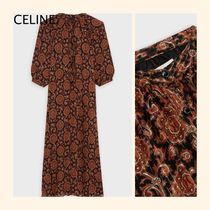 CELINE Paisley Casual Style Long Sleeves Long Party Style