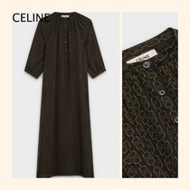 CELINE Casual Style Long Sleeves Long Party Style With Jewels