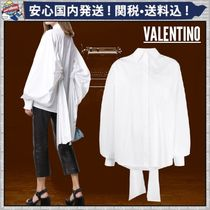 VALENTINO Short Plain Cotton Oversized Puff Sleeves Cropped