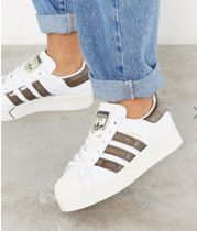 adidas SUPERSTAR Stripes Casual Style Blended Fabrics Street Style Leather