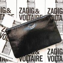 ZADIG & VOLTAIRE Casual Style Plain Leather Logo Clutches