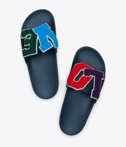 TORY SPORT Open Toe Rubber Sole Casual Style Leather Logo