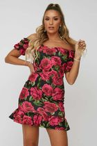 Little Mistress Short Flower Patterns Casual Style Tight Dresses