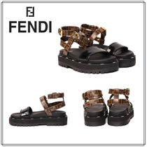 FENDI Casual Style Party Style Logo Sandals Sandal