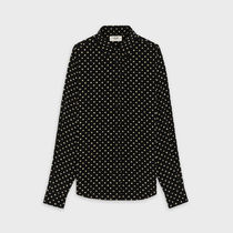 CELINE Dots Unisex Silk Long Sleeves Front Button Shirts