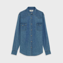 CELINE Denim Street Style Long Sleeves Plain Front Button Shirts