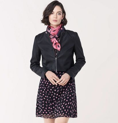 Short Flower Patterns Dots Casual Style Flared Long Sleeves