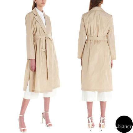 Nylon Plain Medium Elegant Style Trench Coats