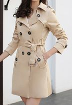 Stand Collar Coats Short Casual Style Nylon Plain