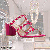VALENTINO Open Toe Studded Plain Leather Block Heels Party Style