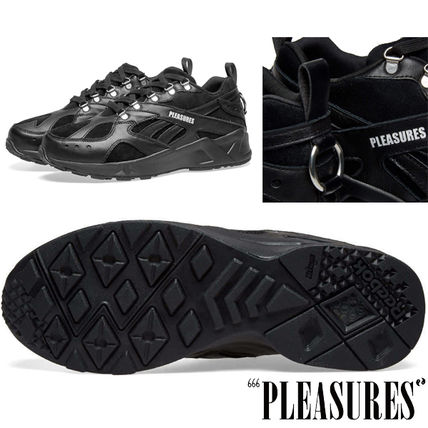 Suede Street Style Collaboration Plain Leather Logo Sneakers