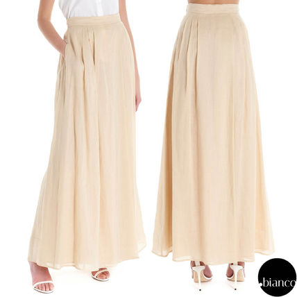 Flared Skirts Maxi Linen Pleated Skirts Plain Long