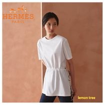 HERMES Plain Cotton Medium Short Sleeves Tunics