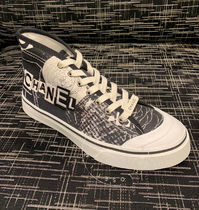 CHANEL SPORTS Flower Patterns Plain Toe Lace-up Casual Style Unisex