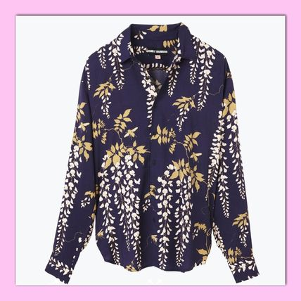 Button-down Flower Patterns Unisex Street Style Long Sleeves