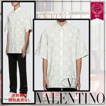 VALENTINO Monogram Street Style Cotton Short Sleeves Logo Front Button