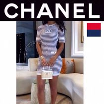 CHANEL ICON Short Stripes Casual Style Tight Blended Fabrics