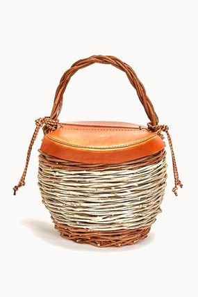 Blended Fabrics Leather Logo Straw Bags