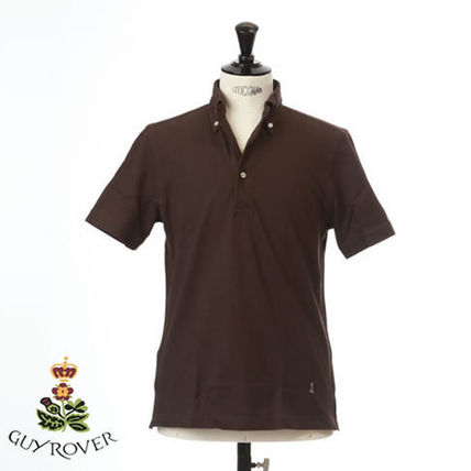 Pullovers Button-down Plain Short Sleeves Logo Tops