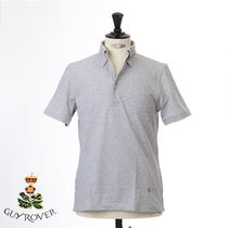 GUY ROVER Pullovers Button-down Plain Short Sleeves Logo Tops
