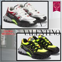 VALENTINO Blended Fabrics Street Style Leather Logo Neon Color