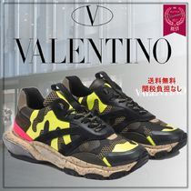 VALENTINO Suede Blended Fabrics Street Style Leather Logo Neon Color